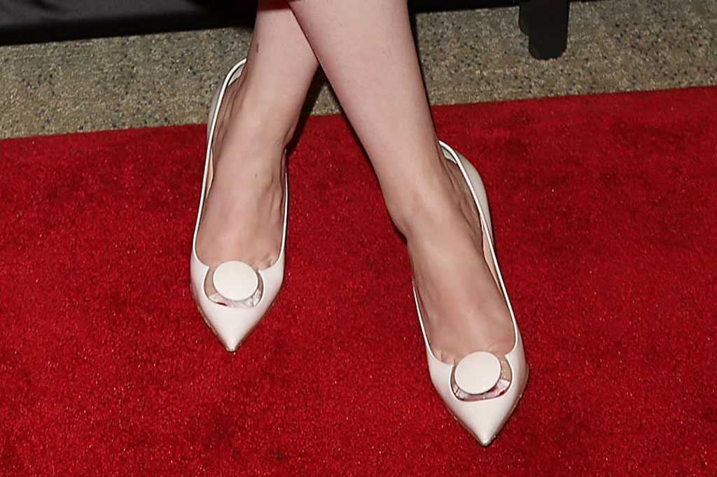 Rachel Brosnahan, white pumps, stilettos, pointy-toe, clear detailing, pedicure, celebrity shoe style, red carpet, marvelous mrs maisel
