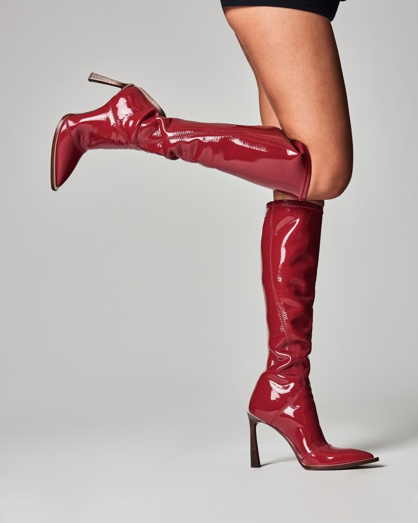 boots, fall, 2019, fendi, neoprene, latex, patent, shiny, red, stiletto, heel