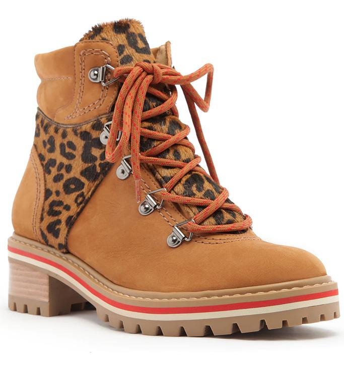 Schutz Keida Leopard Print Calf Hair Combat Boots