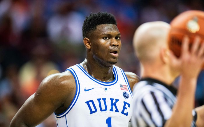 Duke Blue Devils forward Zion Williamson (1) during the ACC College Basketball Tournament game between the Syracuse Orange and the Duke Blue Devils at the Spectrum Center on in Charlotte, NC NCAA Basketball Syracuse vs Duke, Charlotte, USA - 14 Mar 2019
