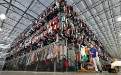 Thousands of garments are stored on
