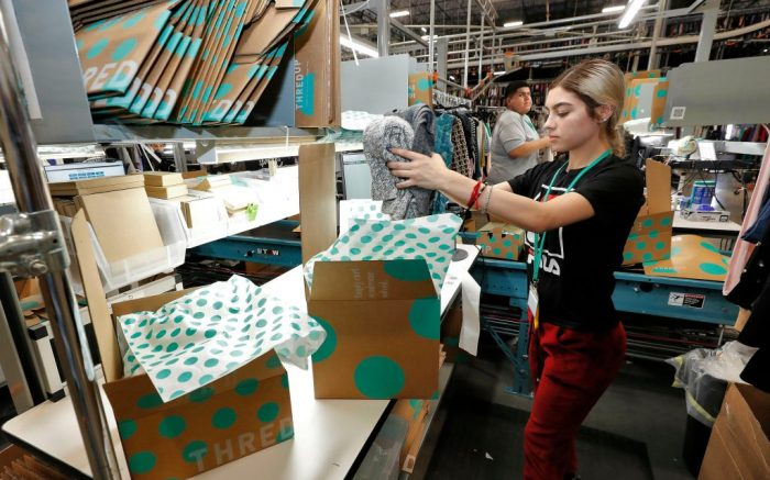 "Yakaranday Arce packs sold clothing for shipment at the ThredUp sorting facility in Phoenix. Charitable organizations like Goodwill have cited how Marie Kondo's popular Netflix series, ""Tidying up with Marie Kondo"" has led to a surge of donations. And sites like OfferUp and thredUP also note an uptick in the number of items being sent to them for saleOn The Money Decluttering Tips, Phoenix, USA - 10 Mar 2019"