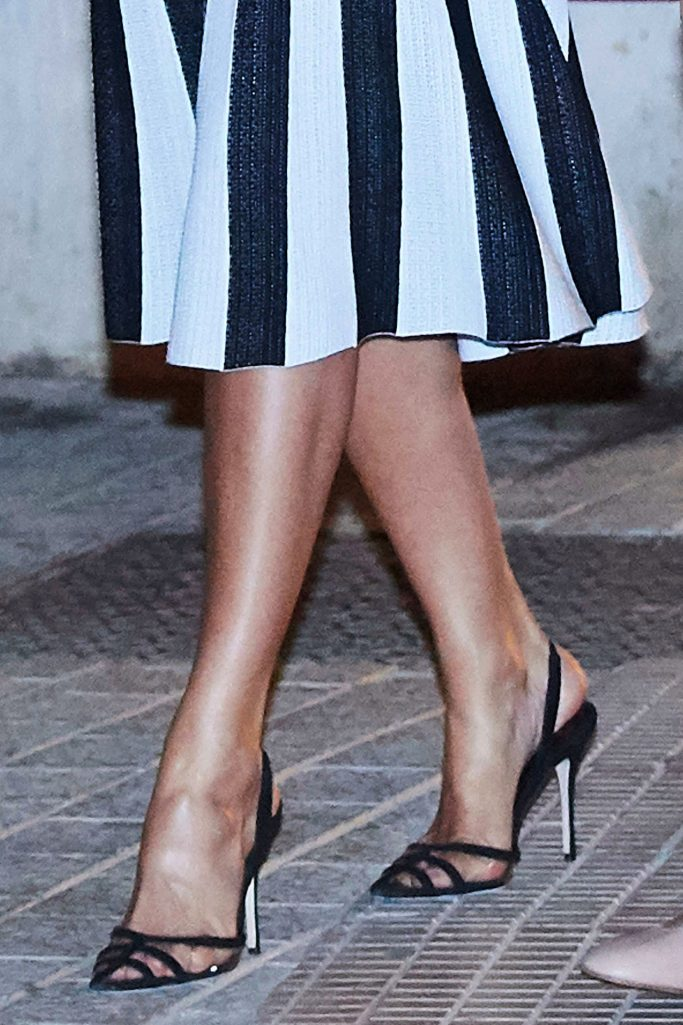"""Close-up of Queen Letizias shoes at """"Swan Lake"""" show in Spain."""