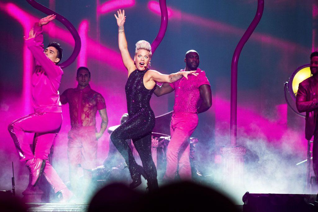 Pink performing in Stockholm.