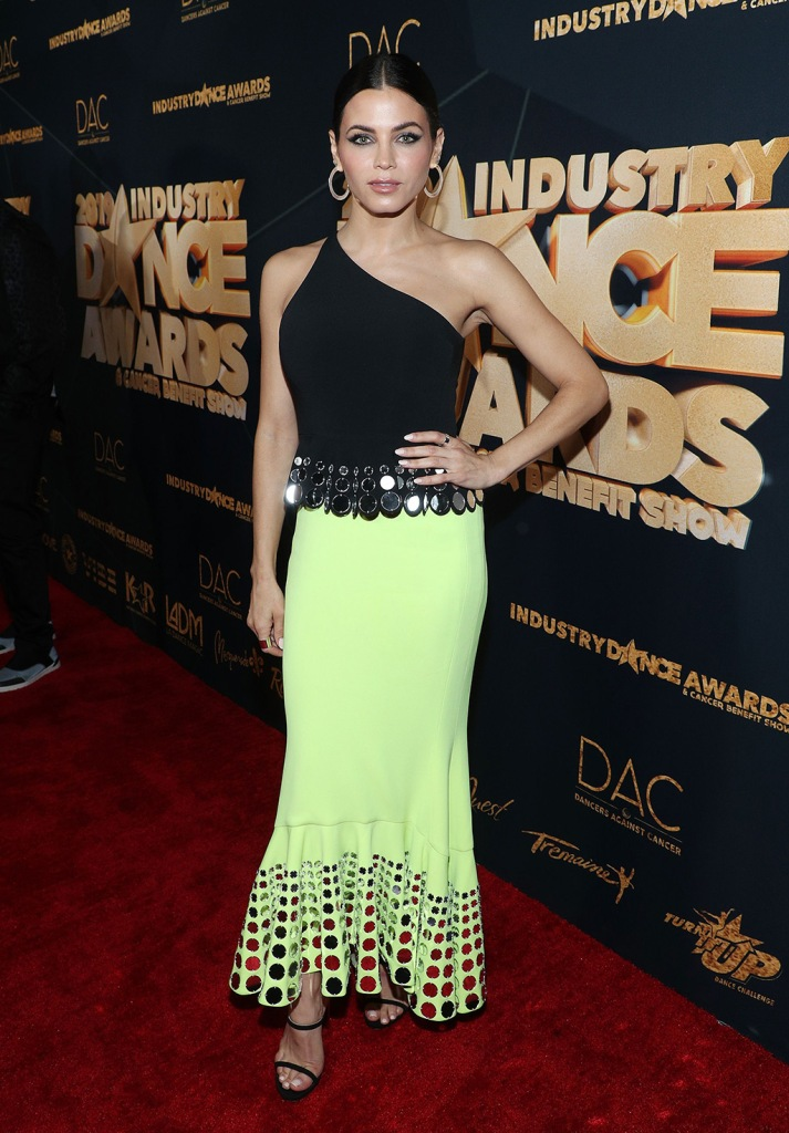 Jenna Dewan, David Koma dress, black jimmy Choo sandals, celebrity style, neon green, Industry Dance Awards & Cancer Benefit Show, Arrivals, Avalon Hollywood & Bardot, Los Angeles, USA - 14 Aug 2019Wearing David Koma same outfit as catwalk model *9883235c and Draya Michele