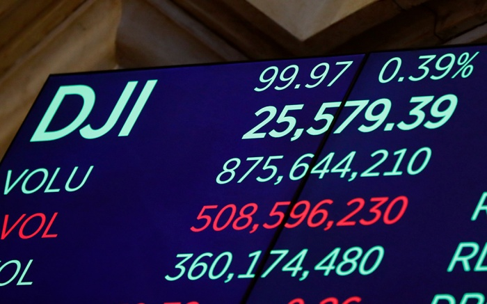 A screen above the trading floor of the New York Stock Exchange shows the closing number for the Dow Jones industrial average, . Stocks ended another roller-coaster day mostly higher on Wall Street, making up just a fraction of the ground they lost in a huge plunge the day beforeFinancial Markets Wall Street, New York, USA - 15 Aug 2019