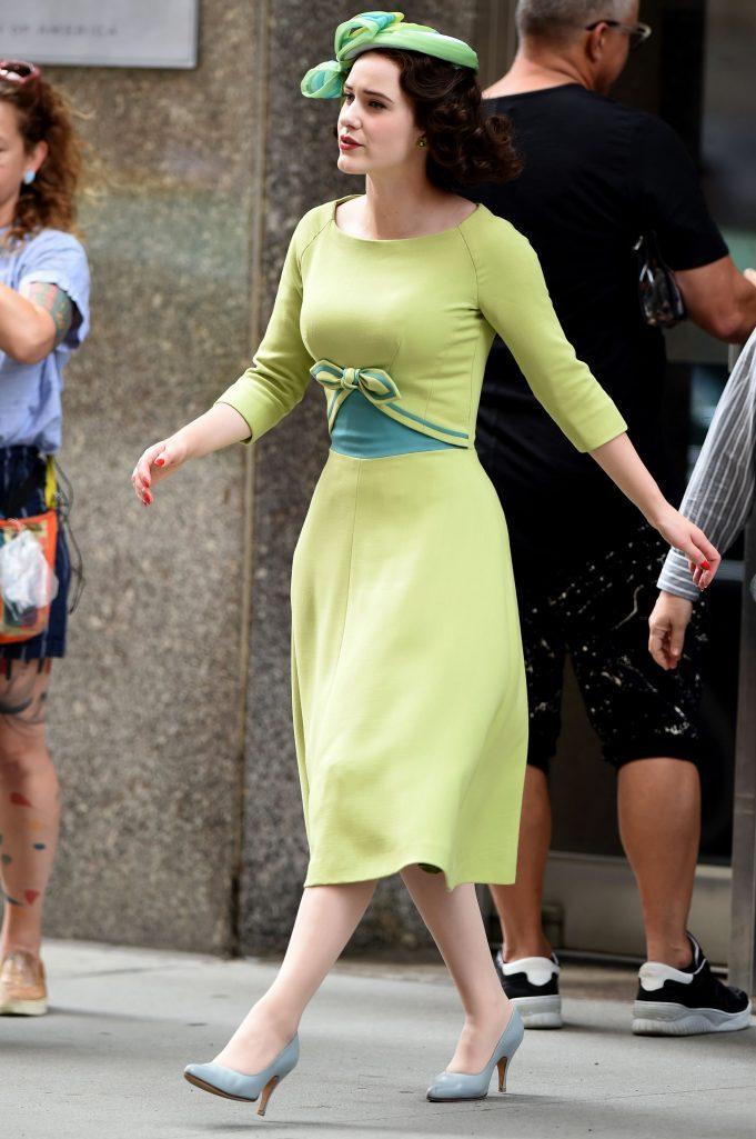 Rachel Brosnahan'The Marvelous Mrs. Maisel' on set filming, New York, USA - 16 Aug 2019