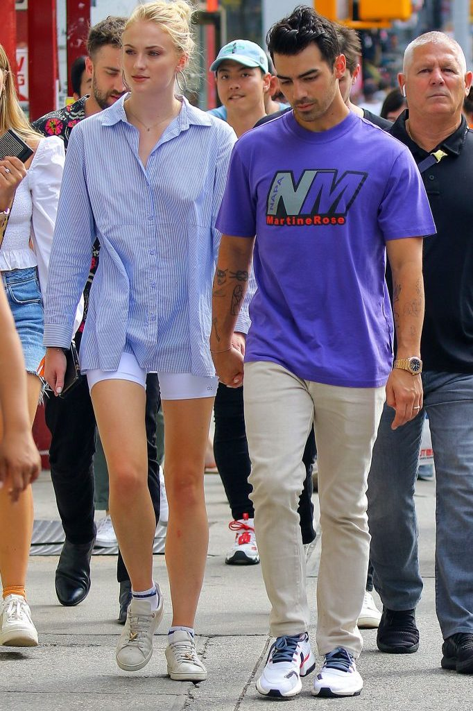 Sophie Turner and Joe JonasJoe Jonas and Sophie Turner out and about, New York, USA - 16 Aug 2019, Alo Yoga bike shorts
