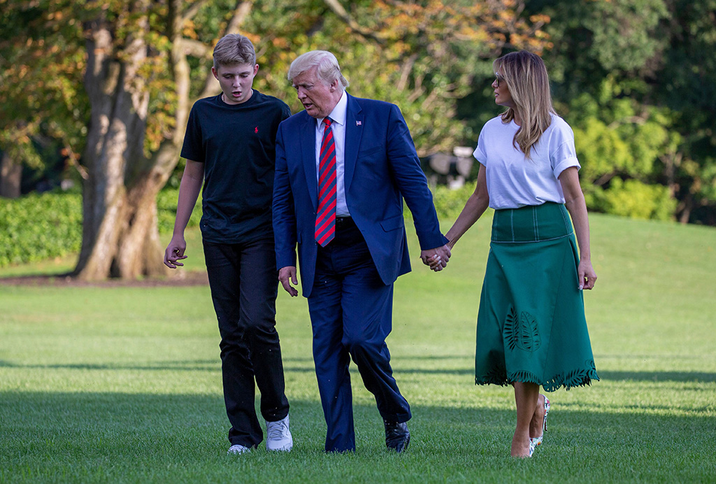 Barron Trump, United States President Donald J. Trump and First Lady Melania Trump return to the White House following a stay in Bedminster, New JerseyUS President Donald Trump returns to the White House, Washington DC, USA - 18 Aug 2019