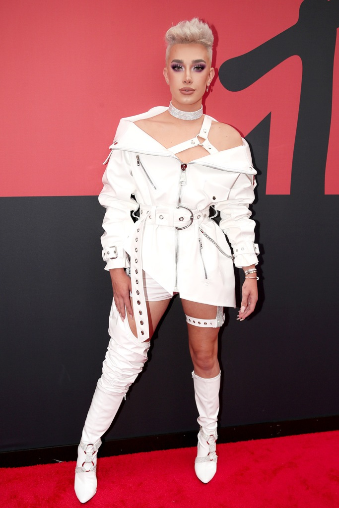 James Charles, white boots, legs, bootie shorts, celebrity style, blond hair, MTV Video Music Awards, Arrivals, Prudential Center, New Jersey, USA - 26 Aug 2019