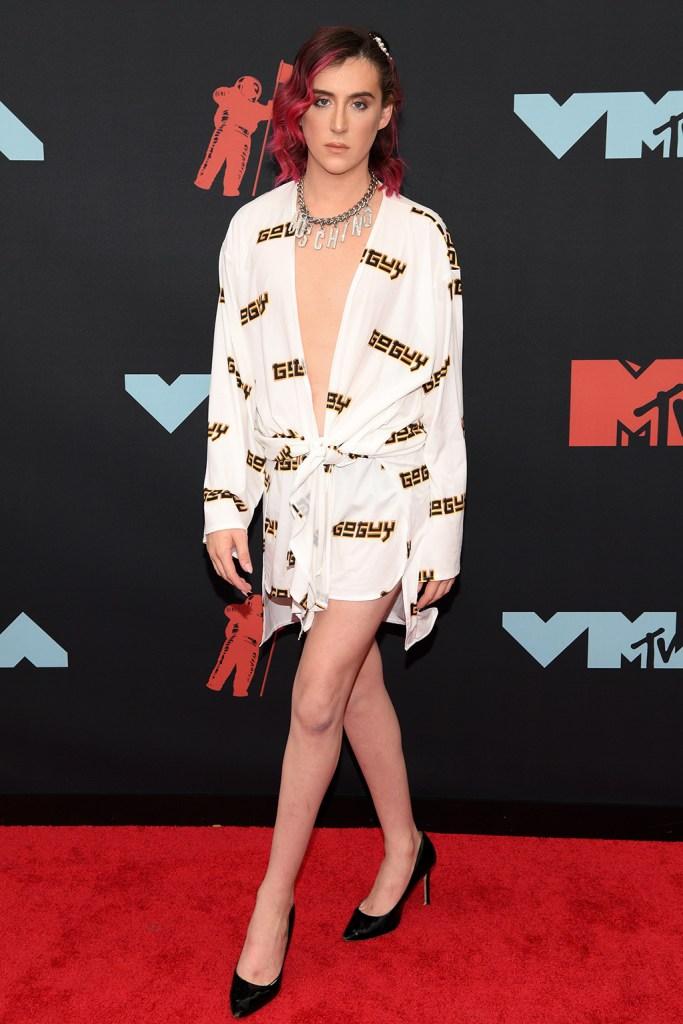 Trevor Moran, minidress, man in dress, celebrity style, Moschino, high heels, stilettos, pumps, MTV Video Music Awards, Arrivals, Fashion Highlights, Prudential Center, New Jersey, USA - 26 Aug 2019