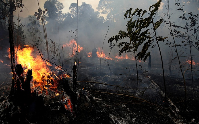 """A fire burns trees and brush along the road to Jacunda National Forest, near the city of Porto Velho in the Vila Nova Samuel region which is part of Brazil's Amazon, . The Group of Seven nations on Monday pledged tens of millions of dollars to help Amazon countries fight raging wildfires, even as Brazilian President Jair Bolsonaro accused rich countries of treating the region like a """"colonyAmazon Fires, Porto Velho, Brazil - 26 Aug 2019"""