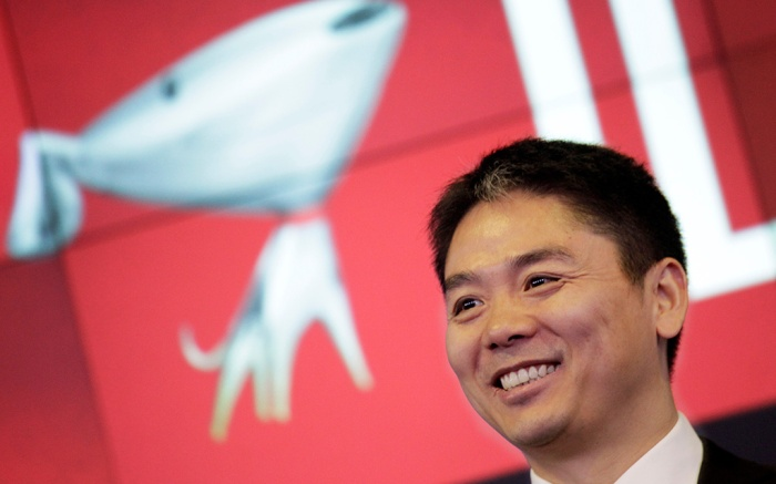 """JD.com JD.com CEO Richard Liu smiles during the IPO for his company at the Nasdaq MarketSite, in New York. JD.com, China's largest online direct retailer, on announced it is opening a store to sell U.S. goods on its site. """"U.S. Mall"""" will sell American brands ranging from Converse to Nautica to a rapidly growing middle class in ChinaJDcom US Store, New York, USA"""