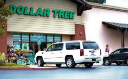 A shopper leaves a Dollar Tree