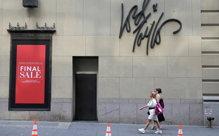 "Signs advertising the closing of a Lord & Taylor store are displayed in New York, . The century-old Lord & Taylor store on New York's Fifth Avenue is holding a ""store closing"" sale starting ThursdayRetail Sales Lord and Taylor, New York, USA - 04 Oct 2018"