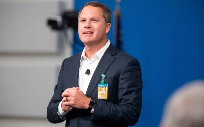 Walmart President and CEO, Doug McMillon, announced today that Walmart will give hiring preference to military spouses, becoming the largest U.S. company to make such a commitment. This announcement came during a Veterans Day ceremony on in Bentonville, ArkWalmart Military Spouse Announcement, Bentonville, USA - 12 Nov 2018