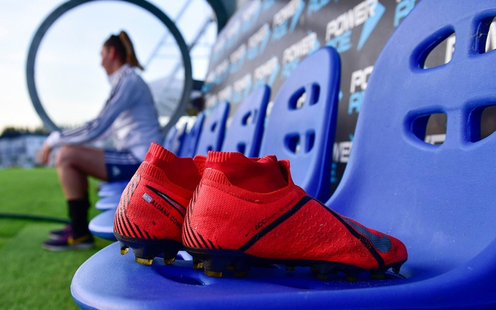 Cleats belonging to Argentine women's soccer team player Aldana Cometti sit on a bench after the team's training ahead of the FIFA Women's World Cup France 2019 tournament, at the Argentina Football Association in Ezeiza on the outskirts of Buenos Aires, Argentina, . The team will have better hopes of seeking it first win in a World Cup in France, now that the concerns about delays in food tickets, lack of sportswear and no access to pitches previously exclusive to men are in the pastWomen's WWCup Soccer, Ezeiza, Argentina - 16 May 2019