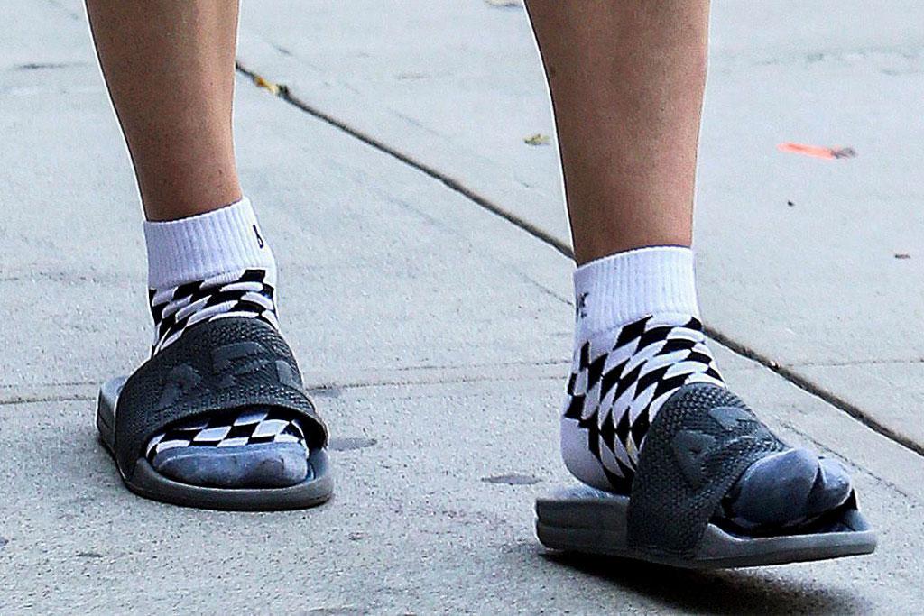 Sophie Turner, socks and sandals, apl slides, New York city, celebrity style, street style,
