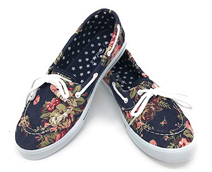 Blue Berry EASY21 Canvas Boat Shoes, girls, floral