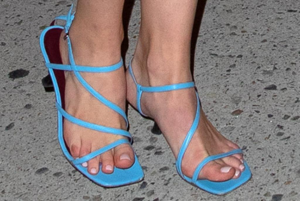 sophie turner feet, staud gita sandals, blue sandals, heels, square toe, strappy