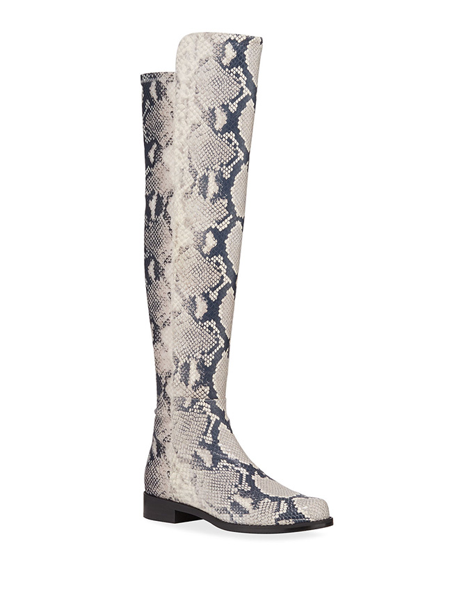 Stuart Weitzman Python-Printed Leather Boots