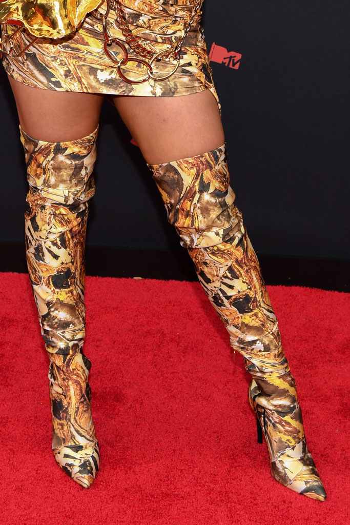 Tana Mongeau, python, Britney Spears, celebrity style, thigh-high boots, minidress, legs, MTV Video Music Awards, Arrivals, Prudential Center, New Jersey, USA - 26 Aug 2019