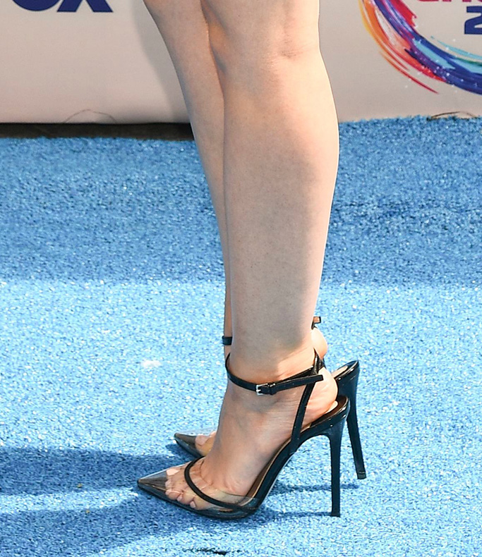 Lucy Hale, Andrea Wazen heels, pumps, see-through, pvc, plexi, Teen Choice Awards, Arrivals, Los Angeles, USA - 11 Aug 2019