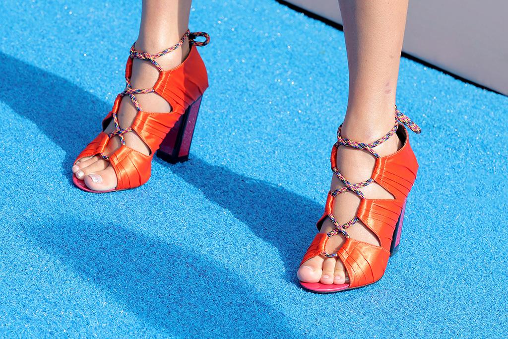 Taylor Swift, shoe detail, kat maconie kiko sandals, orange, feet,Teen Choice Awards, Arrivals, Los Angeles, USA - 11 Aug 2019