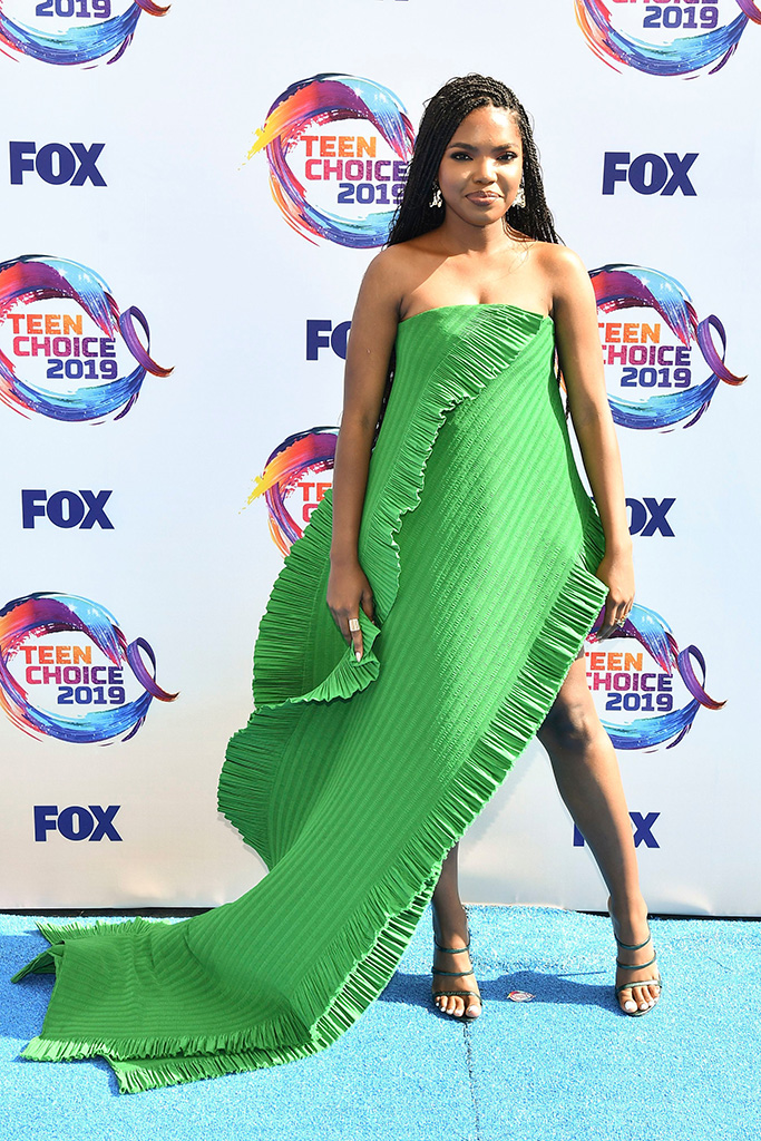 Ryan Destiny, green area dress, vince camuto sandals,Teen Choice Awards, Arrivals, Los Angeles, USA - 11 Aug 2019
