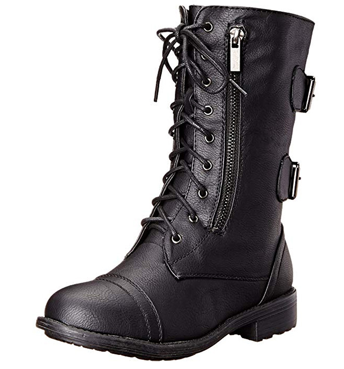 Top Moda Military Combat Boots, womens shoes, black leather, zipper, buckles, laceup