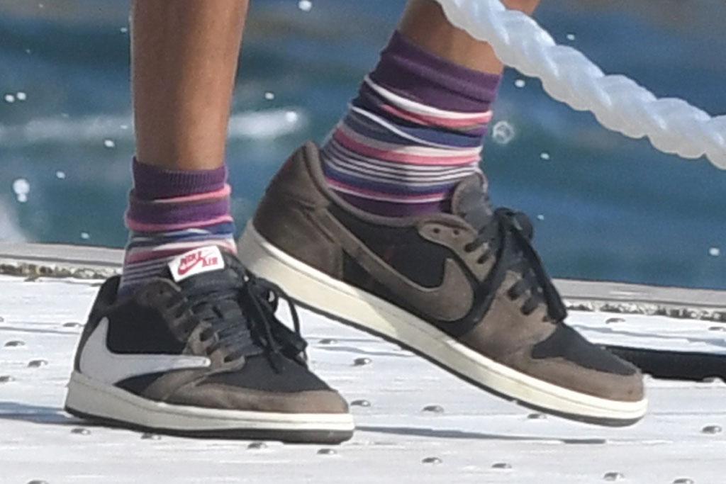 Travis Scott, AIr Jordan 1 Low sneakers, antibes, France, vacation, celebrity shoe style
