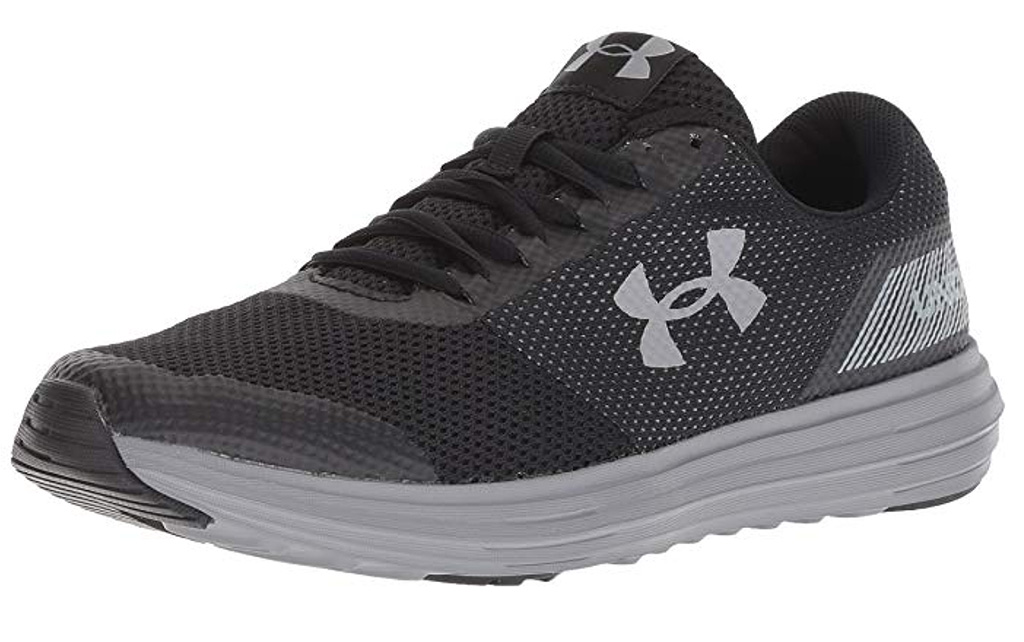 under armour surge running shoes, black and gray, sneakers