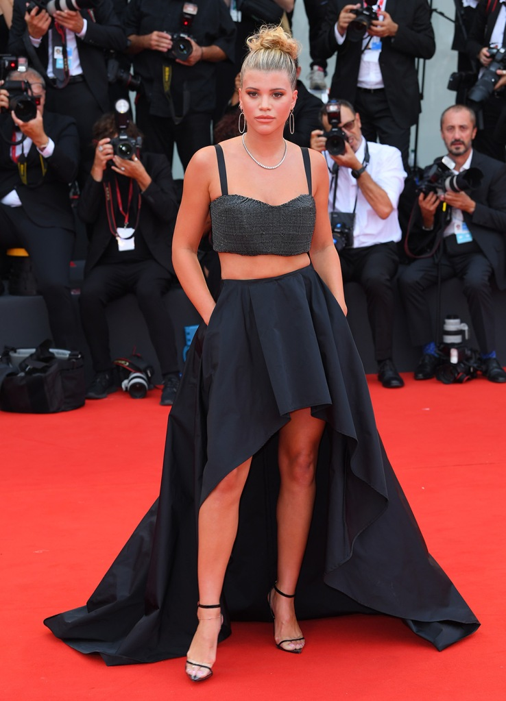 Sofia Richie, Please Don't Buy signed by Twinset, bra top, abs, high-low skirt, Andrea wazen, high heels, clear shoes, pumps, stilettos, 'The Truth' premiere, 76th Venice Film Festival, Italy - 28 Aug 2019