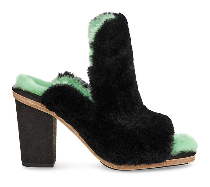 Ugg Eckhaus Latta collaboration collection, heels, mules, furry, fall 2019, shearling