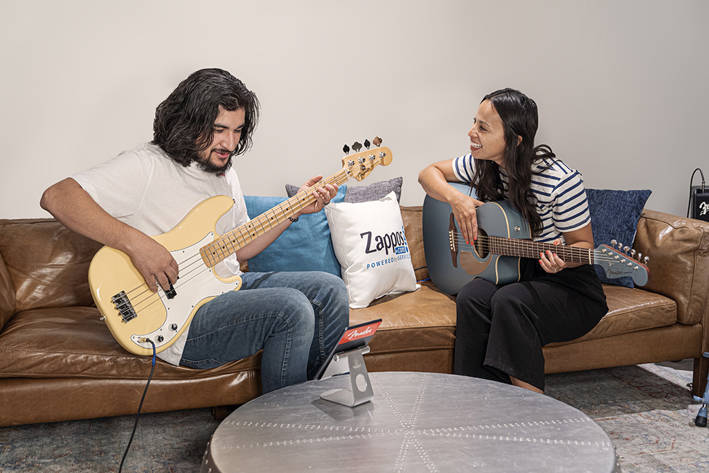 """Zappos' """"jam room"""" as part of its """"Strum for the Sole"""" program with Fender."""