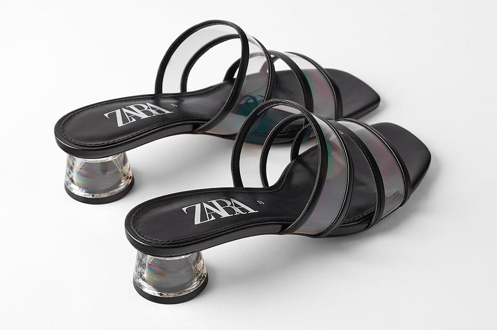 zara, sandals, mules, clear, transparent, pvc, shoes, methacrylate heels
