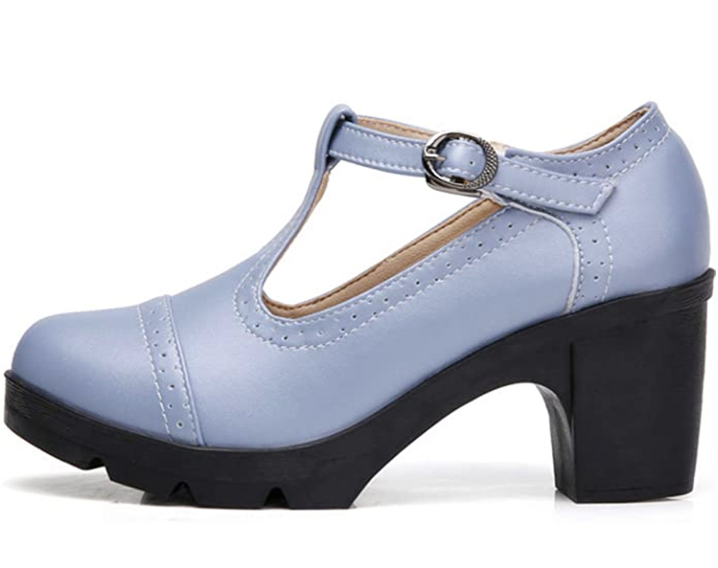 1920s fashion trends, DADAWEN Women's Classic T-Strap Platform oxford, 1920s shoes, mary jane brogues