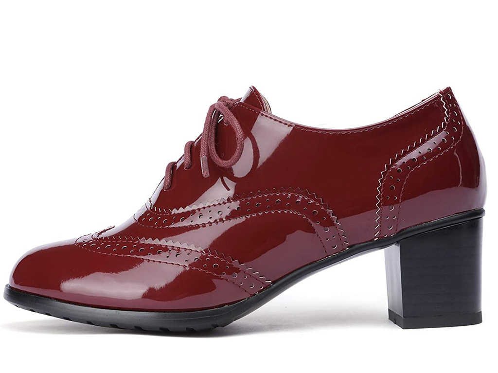 1920s fashion trends, Odema Womens PU Leather Oxfords Wingtip Lace up Mid Heel Pumps Shoes, 20s shoes, oxford pumps