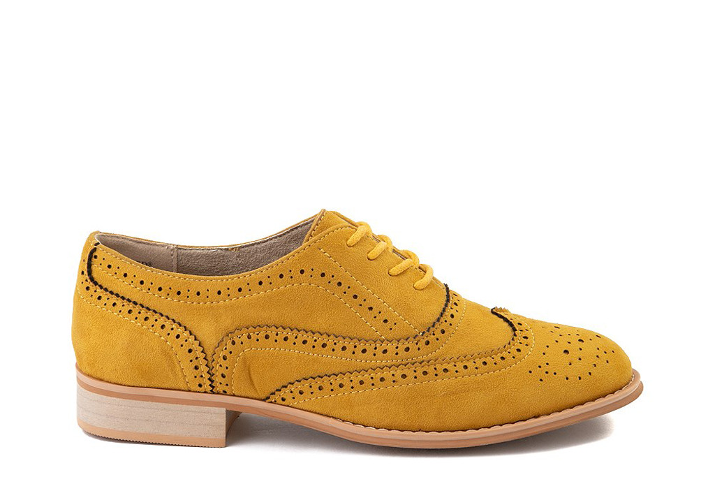1920s fashion trends, Womens Wanted Babe Oxford Casual Shoe - Mustard, 1920s shoes, oxfords