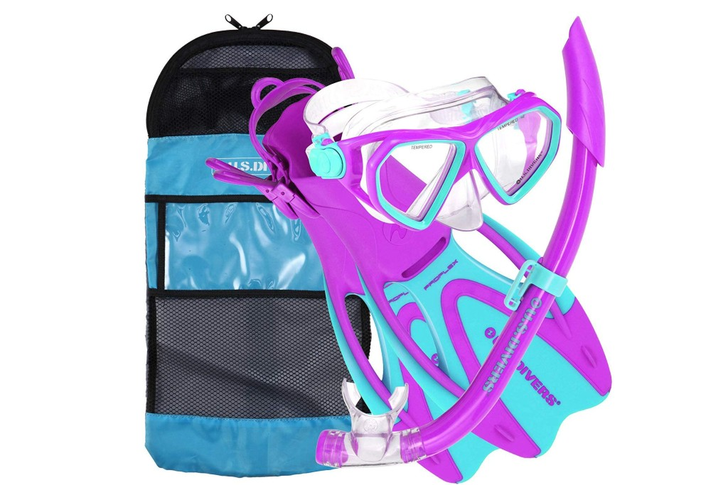 U.S. Divers Dorado Mask, Proflex Fins and Sea Breeze Snorkel Combo Set, flippers for kids