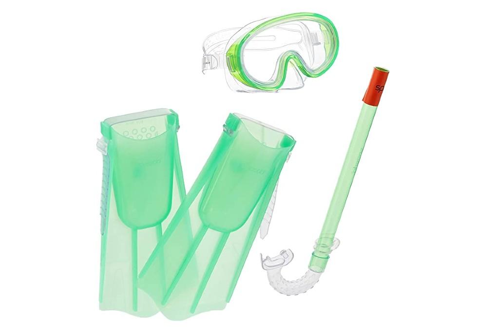 kids flippers, Speedo Kids Aqua Quest Mask/Snorkel/Fin Set