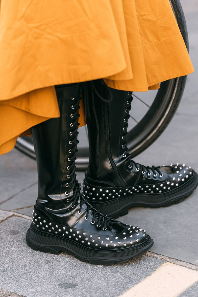 Donna Wallace, alexander McQueen, combat boots, studded boots, celebrity style, lfw, London fashion week, spring 2020