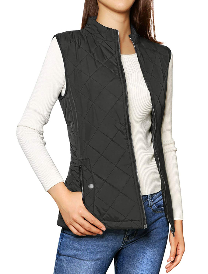 allegra k stand up collar gilet quilted vest