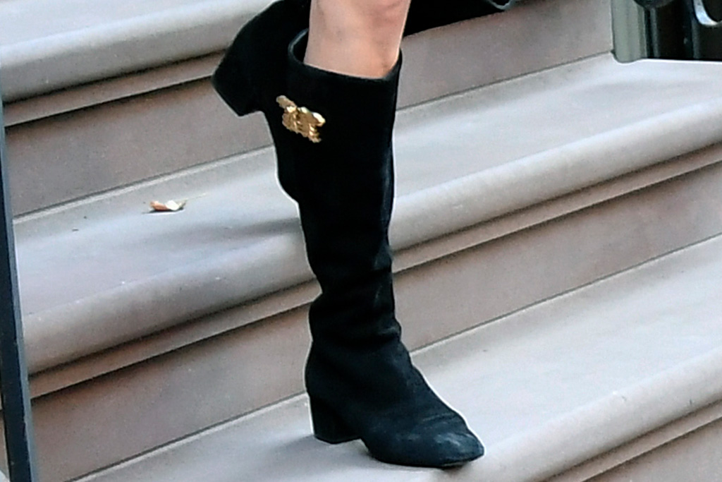 amal clooney, black boots, nyc