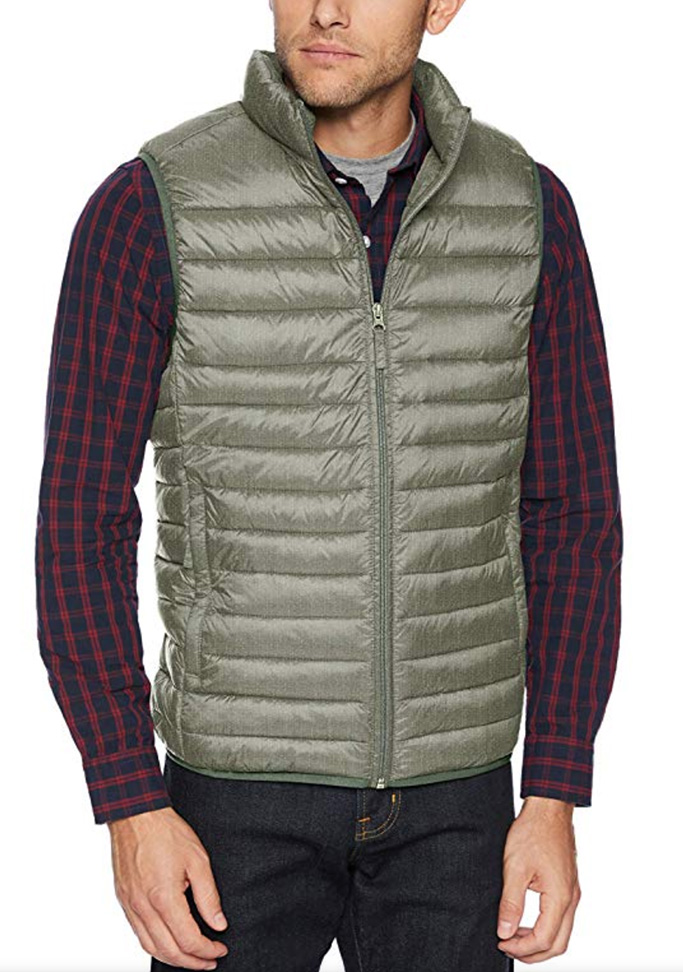 amazon essentials, mens down vest, puffer vest