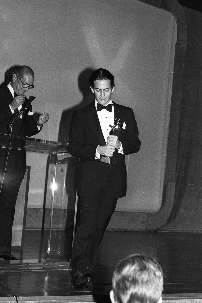 Marc Jacobs accepting an award from Oscar de la Renta during the CFDA Fashion Awards Dinner at the Metropolitan Museum of Art's Temple of Dendur on January 12, 1988 in New York...Article title: 'Eye: The Great UnwashedCFDA 1988, New York