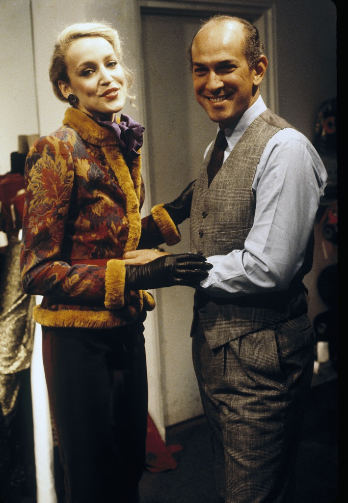 Oscar de la Renta with model wearing a woven fur-trimmed jacket with skirt from the his Fall 1979 collectionOscar de la Renta Fall 1979 RTW, New York