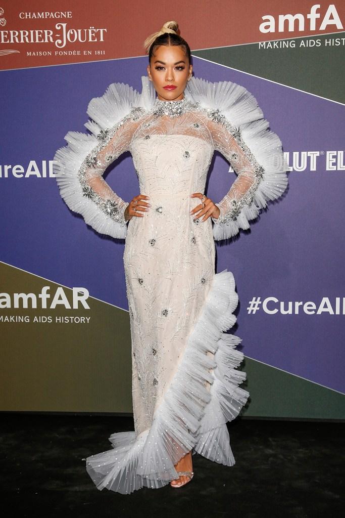 Rita Ora, Prada, custom dress, sandals, celebrity style, amfAR Gala, Arrivals, Spring Summer 2020, Milan Fashion Week, Italy - 21 Sep 2019
