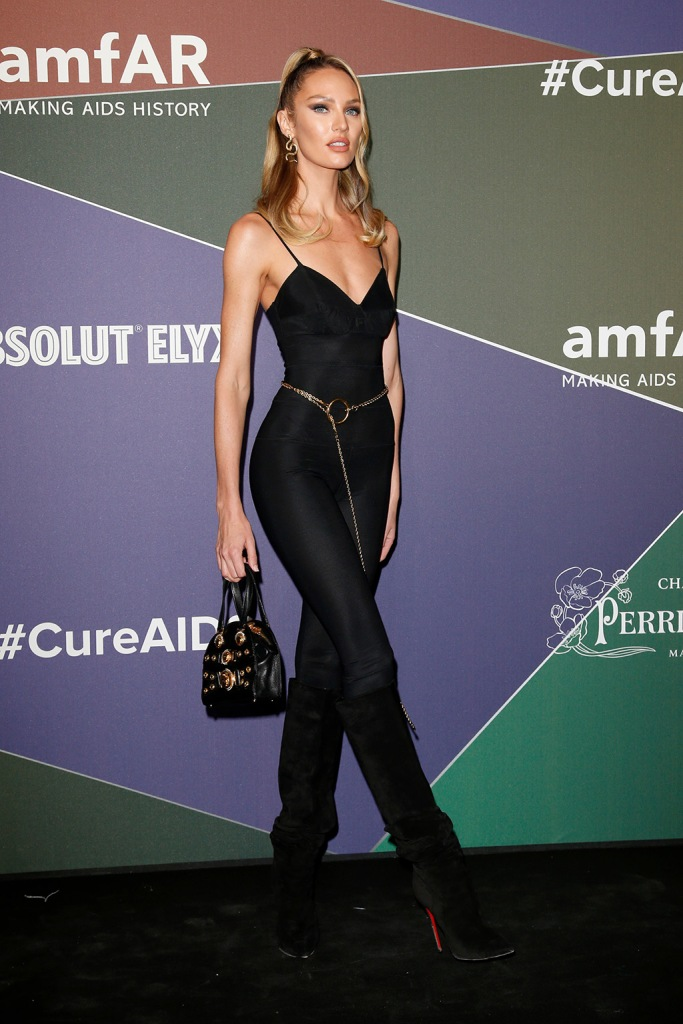 Candice Swanepoel, catsuit, christian louboutin, suede boots, knee-high, amfAR Gala, Arrivals, Spring Summer 2020, Milan Fashion Week, Italy - 21 Sep 2019