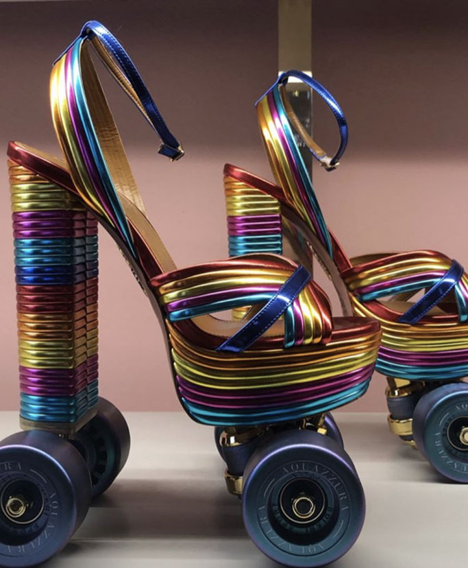 Aquazzura, roller skates, rainbow sandals, spring 2020, mfw